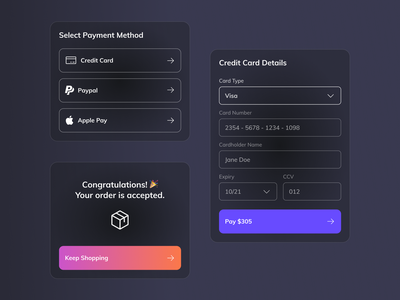 Credit Card Checkout components | Daily UI 002 ui dailyuichallenge minimal payment method payment form payments components dark mode form creditcard checkout dark theme dark dailyui 002 dailyui