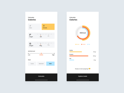 Calorie Caculator | Daily UI 004 selector filters filter meals charts chart graph graphs diet calculator calories calorie appdesigner appdesign minimal dailyui4 dailyui004 daily 100 challenge dailyuichallenge daily