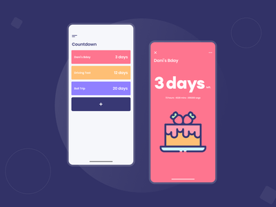 Countdown mobile app | Daily UI 014 countdowntimer countdown timer countdown app ui flat app app design ui design ui minimal dailyui dailyuichallenge
