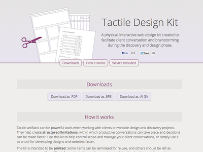 The Tactile Design Kit toolkit design tactile worksheets tool