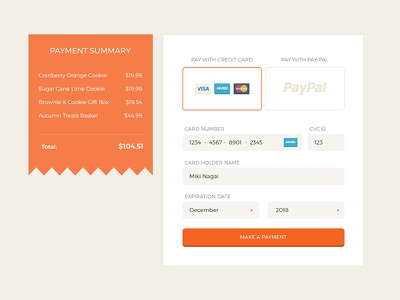 Daily UI 002 : Credit Card Checkout flat payment credit-card ui 002 dailyui