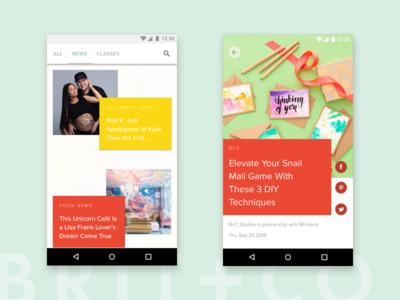 Brit + Co. Android App Concept Design