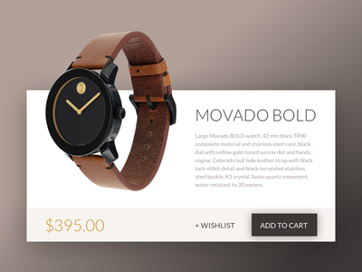 Daily UI Challenge #010 — Movado Product Card dailyui web ui