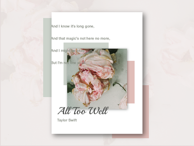 Music Series #5: All Too Well by Taylor Swift (repost) poster creative design music