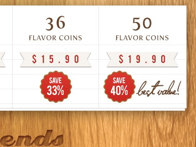 Recipe App Purchase pressed wood button tab ui ipad purchase app recipe pricing table