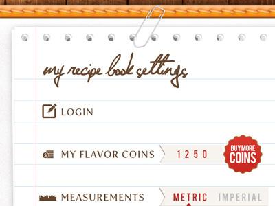 Recipe App Settings recipe app ipad paper clip notes icons measurements paper book