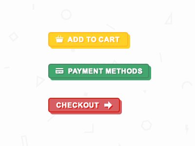 Fun Ecommerce Buttons  ecommerce buttons bright playful cart payment card checkout add to basket
