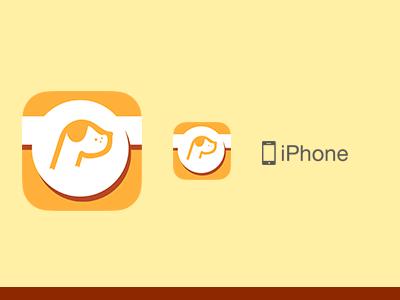 Woof App  ios app icon pet dog badge round yellow orange maroon