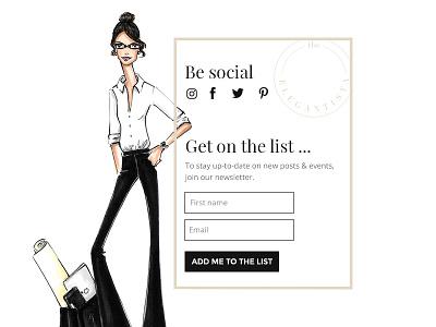 The Elegantista Blog Sidebar UI lifestyle fashion illustration blog design blog sidebar ui