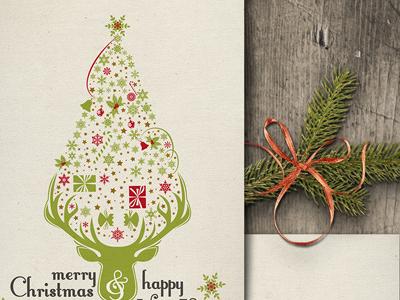 Xmas Tree Graphic Holiday Card holiday graphic xmas christmas tree presents gift deer new year greetings card snow snowflake