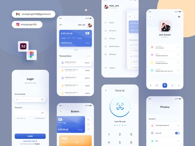 #1 - Credit Card Manage app icon web logo illustration card design minimalist settings figma xd profile faceid signup login mobile app creditcard cards