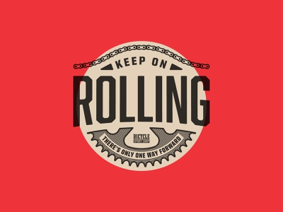 Keep on Rolling t-shirt design crank chain type abolition bicycle bike
