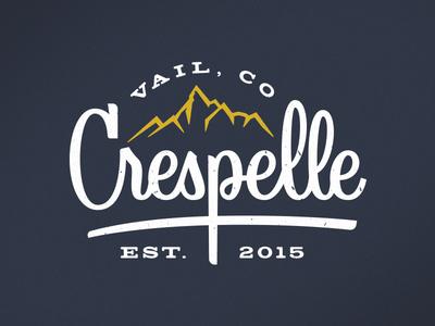 Crespelle crepes lettering mountains colorado vail crespelle logo script type