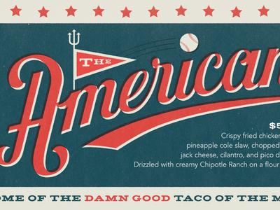 Hey, batter, batter... baseball lettering torchys tacos swash script type merica the american