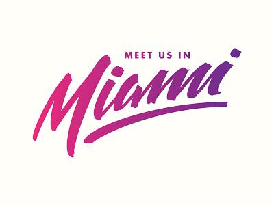 Miami lettering typography sunset gradient miami brush script