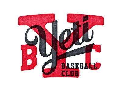 YBC type lettering script vintage grunge baseball yeti