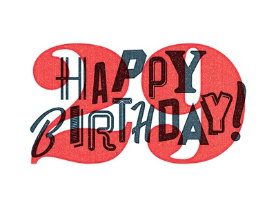 Happy 29 29 multiply chaos letters happy birthday script lettering type