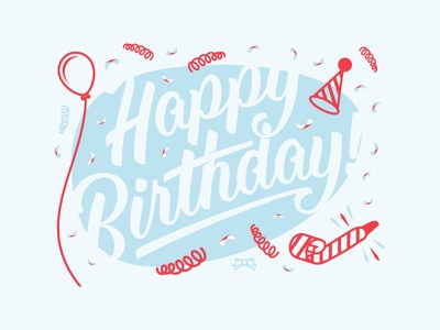 Happy Birthday Party balloon typography gift for good letterpress greeting card givt