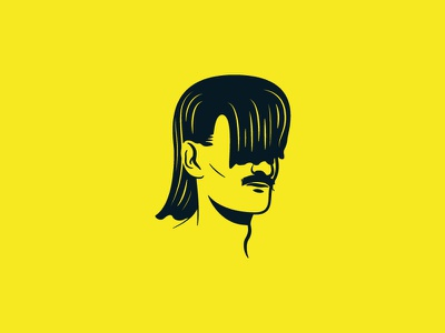 Party in the front, party in the back electricity good feel mustache mullet illustration