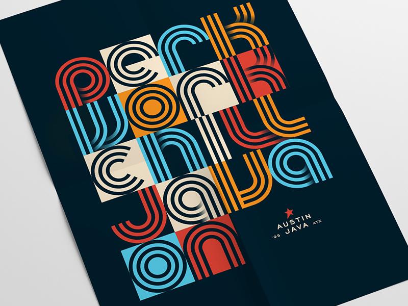 Java On Poster branding identity type austin texas blue mustard coffee shop coffee austin poster typography