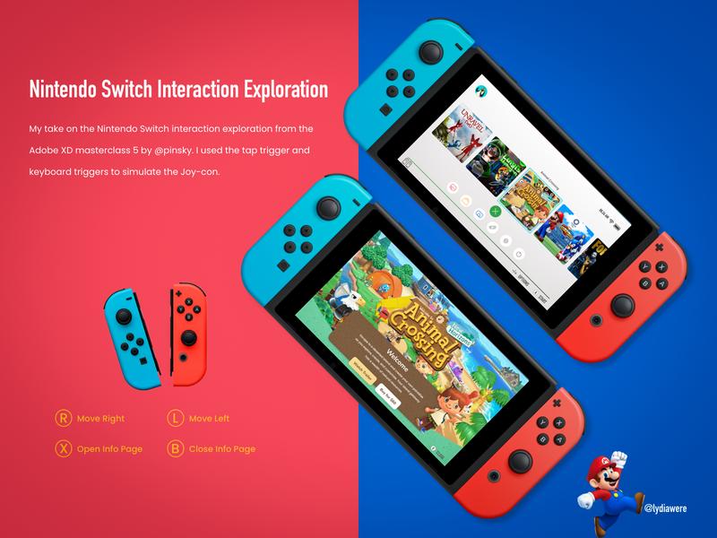 Nintendo Switch interaction exploration nintendo switch nintendo interaction interactive design visual design adobe xd