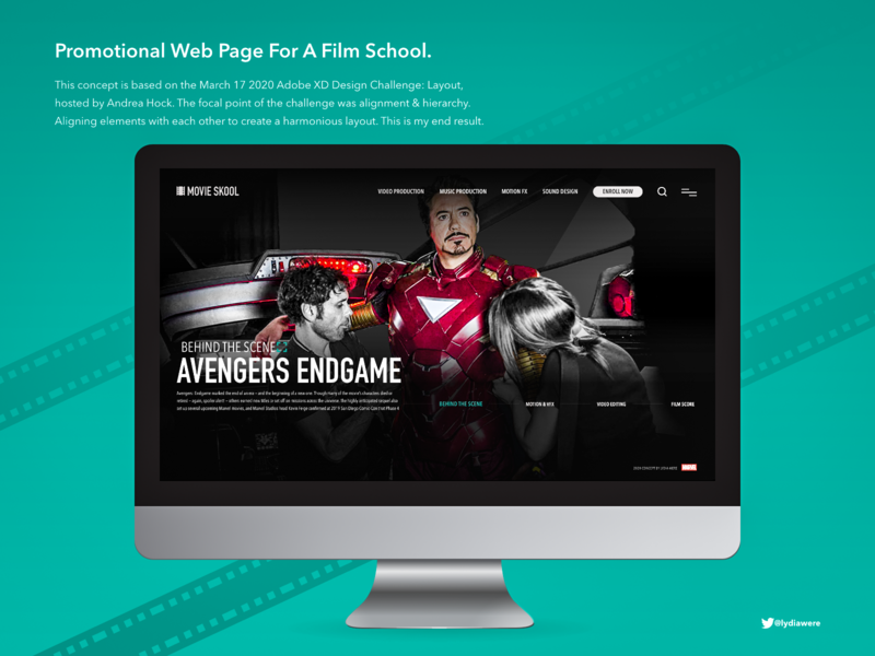 Promotional web page for a film school