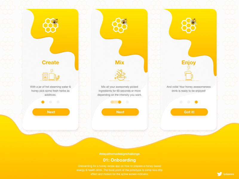 Onboarding Experience for Honey Recipe App stay safe stay home visual design interactive design adobe xd