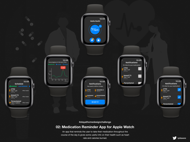 Medication Reminder medical app visual design adobe xd apple watch design