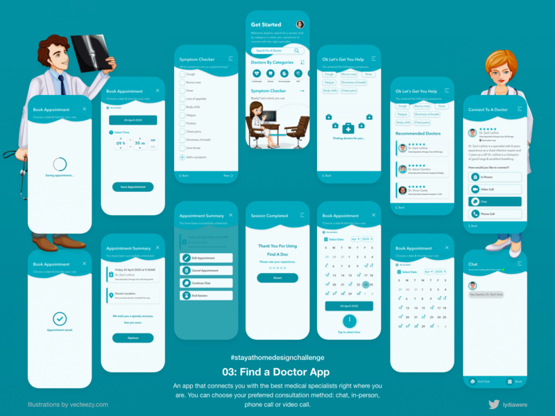 Find A Doc App medical app visual design adobe xd