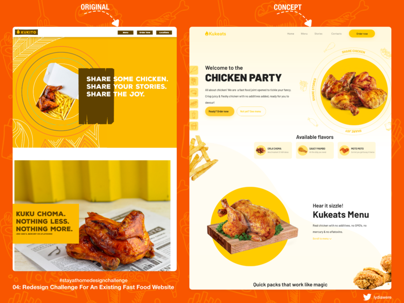 Website Re-design Concept for Fast Food Website food web design landing page adobe xd