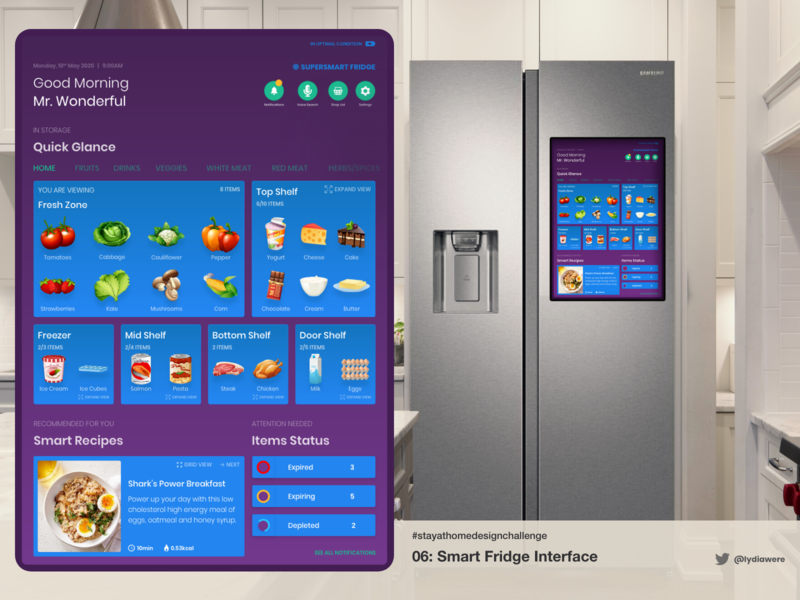 Smart Fridge UI design smart home adobe xd