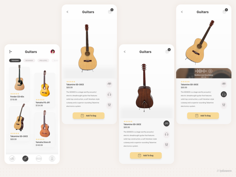 Music instrument store app mobile mobile app adobe xd guitar music app