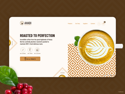 Ahadi premium coffee landing page premium food adobe xd adobexd ecommerce web design website coffee landing page