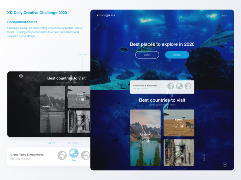 XD Daily Creative Challenge landing page interactive design adobexd