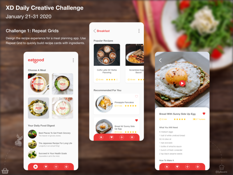 xd daily creative challenge - repeat grid visual design interaction adobe xd
