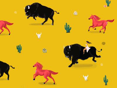 Run bison run illustration pattern buffalo bison horse wild west southwest