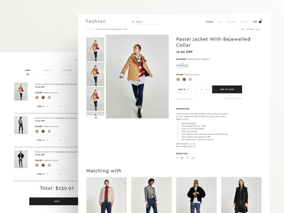 Fashion E-commerce Template minimalistic cart product ux website fashion clothes shopping store ecommerce