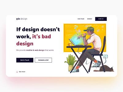 gde.design website coming next week web design hireus home page designer cat cute animation website typography branding logo design illustration ui
