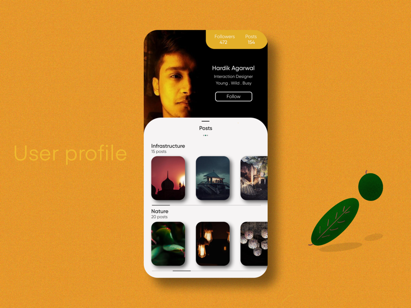 User Profile | Daily UI #006 vector design app flat minimal ux ui screens mobile design front end user experience user interface debut user profile profile user dailyui006 daily ui 006 daily ui daily