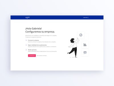 Sight - Company profile form field recruit step sign in page design illustration profile company account web flag design flat stepper process onboarding