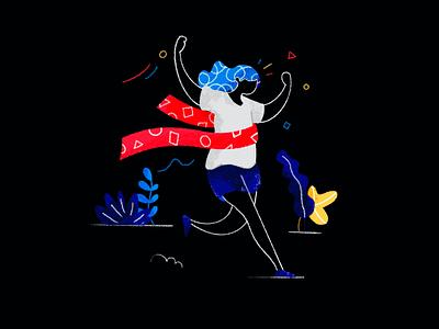 🏃♀️  Work in progress clean black app seek job product illustration runner goal account character