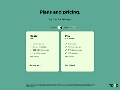 DailyUI #030 - Pricing clean web flat typography graphic design ux ui design app art