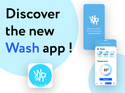Wash - Connected laundromat minimal design new photo illustrator adobexd app brand design ux ui wash laundromat