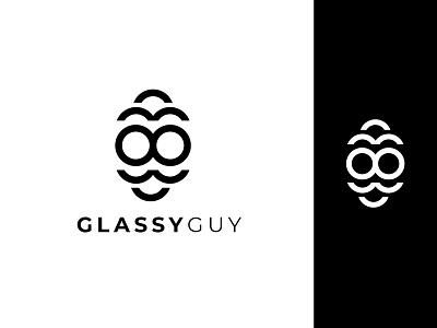 Glassy Guy Logo Design face illustration man illustration illustration design app icon typography minimalist logo app logo logo branding logo design