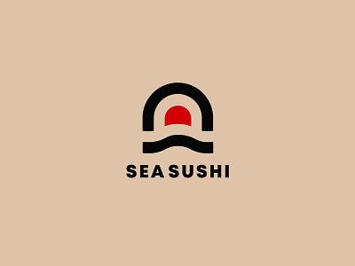 Sea Sushi Logo Design graphic design creative ui app icon typography app logo illustration design minimalist logo sushi logo branding logo design
