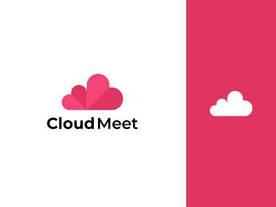 Cloud Meet Logo Design graphic design ui minimalist logo app logo logo love cloud icon typography app icon design illustration branding logo design