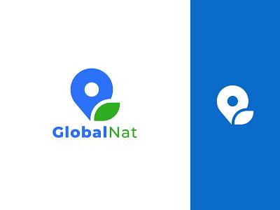 Global Nat Logo Design global logo design typography ui illustration app icon app logo design location icon minimalist logo logo branding