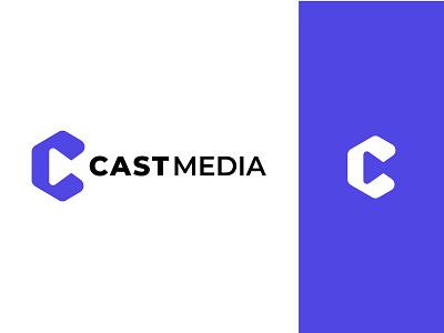 CAST MEDIA LOGO DESIGN design logo illustration ui typography minimalist logo app logo branding logo design