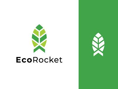 Eco Rocket Logo design logo ui green rocket leaf illustration typography minimalist logo app logo branding logo design