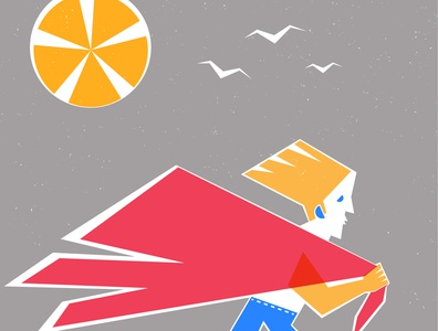 To the Beach geometrical geometric art run sun men man geometric illustration design beautiful beach illustration characterdesign